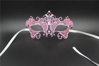 Wholesale Sexy Pure School - Gorgeous Violet Colur Half Face Masks Hollow Lace Pure Metal Masks Sexy Design Mardi Gras Masquerade Mask