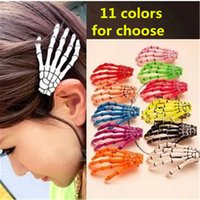 Skeleton Hand Barrette Hairpin Crocodile Alligator Clips de cheveux Zombie Punk Horror Broche de cheveux Barrettes pour filles Halloween Hallowmas