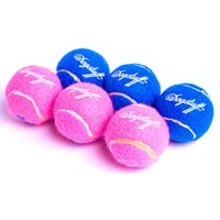 Wholesale Balls For Tennis - Dog Toys Ball Sound Making Cool Tennis Type Funny Toy Blue Pink Colors 3 Pieces Pet Toys Teeth Grinding For Small Size Pets