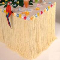 ingrosso decorazioni di compleanno della spiaggia-Gonna da tavolo in plastica Luau hawaiana per matrimoni di compleanno Coloful Flower Grass Garden Beach Party Gonne da tavolo Decorazione per eventi
