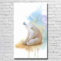 Wholesale Cheap Modern Canvas Artwork - Lovely Panda Artwork Hand made Canvas Oil Painting Bedroom Wall Decor Cheap Modern Animal Oil Painting No Framed