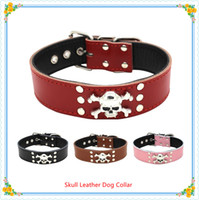 no limit padded leather dog collar - Hot sale Dog accessories Skull and Crossbones Real Cow Leather Dog Collars colors sizes