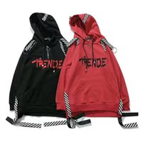 Wholesale Casual Sleeved Black For Men - Hoodie for men and women letter fleece hooded simple perforation Striped ribbon fashion spring autumn wear lovers clothes loose Long-sleeved