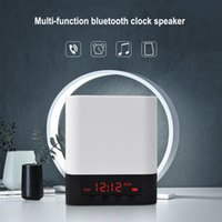 Wholesale Audio Input Iphone - Portable Wireless Bluetooth Stereo Speaker Support AUX Audio Input+Handsfree Call+LED Shinning+Time Alarm Clock Speaker For iPhone 8 7 Plus