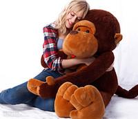 ingrosso bambole giganti di scimmie-GIGANTE ENORME GRANDE PELUCHE RIPORTE ANIMALI PELUCHE MARRONE SCIMMIA BAMBINA PIGIAME PELUCHE