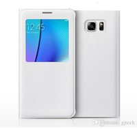 Wholesale S4 Flip Case Battery Cover - Samsung Galaxy S4 S5 S6 S7 Edge Plus Original Flip Cover Folio Case Note 3 4 5 A7 Official Genuine Battery Housing Smart View Window Shell