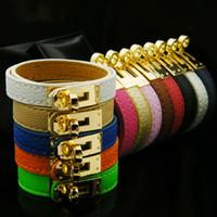Wholesale H Links - Fashion pu leather Love bracelet bangle Women brand H bracelet gold plated stainless steel bracelet Pulseira Feminina gift