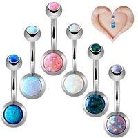 Wholesale 14g Earrings - New Brand 1 Piece Opal Navel Earring Belly Button Ring Barbell 14G Op17& Op19 Surgical Ball Piercing Piercing Ombligo
