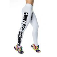 Wholesale Woman Fashion Letter Print Leggings - Fashion Leggings Plus Size Gym Workout Jogging Trousers 3D Print High Elastic Breathable Yoga Pants Women Skull Side Letters LNSLgs