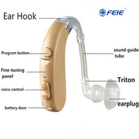 Wholesale Digital Ear Hearing Aids - Super Mini Size Sound Enhancer Behind Ear Digital Chip Hearing Aid s-303 Acousticon Ear Aid Earphone free shipping