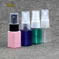 Wholesale Green Cosmetic Spray Bottles - Wholesale- 10ml Plastic Square Spray Bottle Refillable Women Perfume Sprayer Makeup Cosmetic Water Atomizers Pink Green Blue