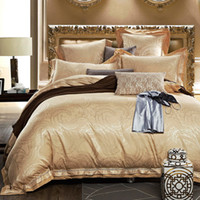 Wholesale Lace Cotton Twin Sheets - Wholesale- Gold silk cotton 4 6pcs bed set luxury jacquard bedding sets lace silk bed clothes quilt cover bed sheet pillowcases
