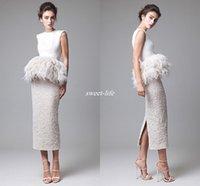 Wholesale Short Peplum Bridal Dresses - Krikor Jabotian 2017 Feather Peplum Tea-length Wedding Dresses Lace Back Split Stain Saudi Arabia Vintage Occasion Bridal Party Formal Gowns
