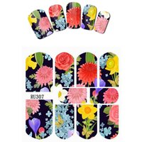 10PCS / LOT NAIL ART BEAUTY STICKER DECAL FLOWER NARCISSUS CHRYSANTHEMUM PEONY ROSE LILAC RU307-315