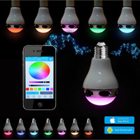 Wholesale Led E27 13w - Smart Colorful LED Bluetooth Speaker RGBW Wireless lamp cool white RGB tricolored light 13W Bluetooth Audio bulbs with App