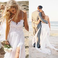Lace Short Beach Wedding Dress online - High quality Top Spaghetti Strap Beach Boho Cheap Bohemian Lace Front Short Long Back Wedding Dress Gown 2016 Bride Dress