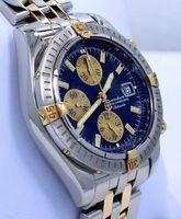 reloj de pulsera ss al por mayor-Envío gratis Calidad AAA B13356 18K Oro Amarillo / SS y acero inoxidable Cronógrafo de cuarzo de los hombres Relojes deportivos Negro Mens Casual