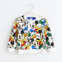Wholesale Topcoat Hoodie - Wholesale- Cartoon O-Neck Boys And Girls Pullover Hoodies&Sweatershirts Spring Autumn New Korean Children Clothing Kids Mouse Print Topcoat