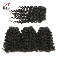 Wholesale F 24 - Peruvian Virgin Curly Hair 3 Bundles with Lace Closure F Curly Virgin Remy Human Hair Free Middle Closure Natural Color