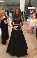Wholesale Summer Tops Usa - Black Long Sleeve Prom Dresses Sheer Lace Top Floor Length Satin Cheap 2016 Two Piece Special Occasion Dress Miss USA Evening Pageant Gowns