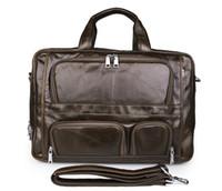 Wholesale 17 Laptop Messenger Bag Leather - Mens Handmade Genuine Leather Shoulder Bag Handbag Messenger Briefcase 17 inch Laptop MacbookPro Bag Large Size Bag Coffee Color 7289