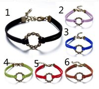 Wholesale Wholesale Ring Form - Free shipping!Ring Form Circle Bracelet, Charm Bracelet, Thin Leather Cord Bracelet Adjustable Weave Bangle with Extended Chain