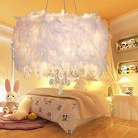 Wholesale Chandelier Led Light Lamp - For dinning living bed room bedroom foyer led bulb optional white modern ceiling hanging lamp crystal feather chandelier light