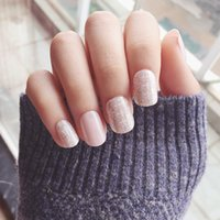 Новое прибытие 24 шт Shinning Star Short Fake Nails Glitter Nude Nail Tips with Design in box cute Nials для ежедневного офиса