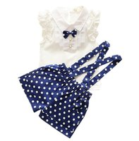 Wholesale Cute Short Pants For Girls - 2017 New Summer style Kids Clothing Set T Shirt And dot shorts Pants 2 Colors Children Girl Clothes Sets For Free Shipping