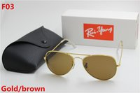 Wholesale Gold Lens Mirror Sunglasses - New high quality AAAAA fashion brand designer, male lady ray Yang sunglasses gold frame brown glass lens 58mmUV400 protection black case