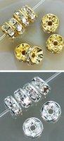 Wholesale Metal Rhinestones Loose - 8MM White Crystal Spacerghd Metal Gold Silver Plated Each Color 500 pcs Rondelle Rhinestone Loose Beads DIY Making fit Bracelet DIY