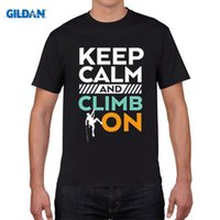Wholesale Rock Climbing Shirt - T shirt Brand 2017 Male Short Sleeve Keep Calm Climb On T-shirt Rock Climb Extreme Funny O-Neck Tshirt