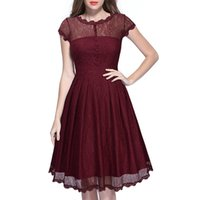 Wholesale Vintage Dresses Size Xxl - The new Fashion Dress listing of solid composite lace openwork in the section of A word Women Casual dress Size XXL.