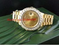 Wholesale Diamond Mechanical Watch - Luxury Wristwatch Amazing Mens Day-Date 2 II 18k 41MM Presidant Yellow Gold Diamond Watch Automatic Mens Watch Men's Watches Top Quality