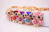 Wholesale Crystal Owl Ring - 30pcs Owl Keychain Rhinestone Crystal Key Ring Chain Bag Charm Pendant Gift Alloy Toy Key Chain 2229