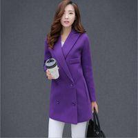 Wholesale Ladies Woollen Jackets - Wholesale-New 2016 women winter wool coat women's double breasted coats ladies long Purple woollen jacket female plaid overcoats