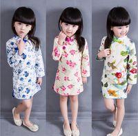 Wholesale Cheongsam Dress For Girls - Wholesales 2016 elegant spring long sleeve flower printed chinese dresses stand collar cheongsam qipao dress kids for girl 3 colors