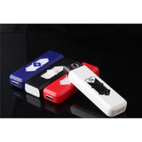 cigarro sin llama recargable electronico usb al por mayor-Encendedor USB recargable Encendedor electrónico Encendedor de cigarrillos Turbo Batería sin llama