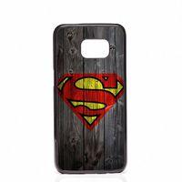 galaxy s5 ahşap kapak toptan satış-Coque Superman Logosu Ahşap Telefon Kabukları Sert Plastik Kılıfları Samsung Galaxy S4 S5 MINI S6 Kapakları S7 kenar S8 S8 Artı