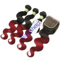 burg saç uzantıları toptan satış-8A Brezilyalı Perulu Malezya Hint Saç Vücut Dalga Dantel Kapatma Ile 3 ADET Demetleri Ombre Saç Burg Renk Vücut Dalga İnsan Saç Uzantıları