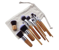 Wholesale Bamboo Drawings - Free DHL Makeup Brushes Set Cosmetics Maquiagem Profissional 11 Pcs High Quality Bamboo Cosmetic Brushes Kit Brush with Draw String bag