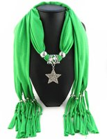 Wholesale Acrylic Circle Scarves - Newest Cheap Fashion Women Scarf Direct Factory Jewelry Tassels Scarves Women Rhinestones Necklace Scarves With Big Star Pendant