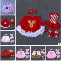 Wholesale Organic Newborn Set - Baby Girls Romper Set Winter Newborn Baby Christmas Romper Ruffle Lace TUTU Dress Headband Leg Warmers Baby First Walkers Shoes Party Dress