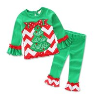 Wholesale Santa Set Kid Clothes - 2016 Xmas Boys Girls Baby Childrens Clothing Sets Christmas Tree Cotton Long Sleeve Tops Pants 2 Set Santa Spring Autumn Kid Clothes Outfits