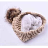 Wholesale Faux Fur Hats - Woman Winter Hat Beanie Cc Faux Fur Pom Pom Ball For Hats Knitted Skully Warm Ski Hat Trendy Soft Brand Thick Female Caps