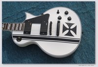 Wholesale custom guitar pickups for sale - Group buy Custom LTD Iron Cross SW James Hetfield Signature Electric Guitar string EMG Pickups white color with
