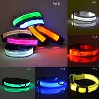 Wholesale Pet Collars Leashes Nylon - Nylon LED Pet Dog Collar Night Safety Flashing Glow In The Dark Dog Leash Dogs Luminous Fluorescent Collars Pet Supplies