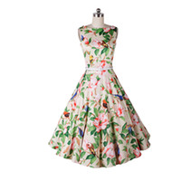 Wholesale New Trendy Clothes - Hot Sales 2016 Summer Women Print Pleated A-Line Dresses Slim Sleeveless Mid-Calf Brand New Trendy Fashion Party Clothing Plus Size