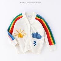 Wholesale Cardigan Sweater Outerwear Children - 2017 Rainbow Cloud INS Popular Children Pullover Long Sleeve Kids Sweaters for Baby Spring Autumn Outerwear Knit Sweater