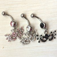 Wholesale Mask Piercing - D0002-2 the mask black stone color navel Belly Button Rings Body Piercing Jewelry Dangle Accessories Fashion Charm (10PCS LOT) drop shipping